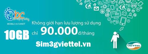 Sim 3G Viettel dung lượng lớn 120Gb