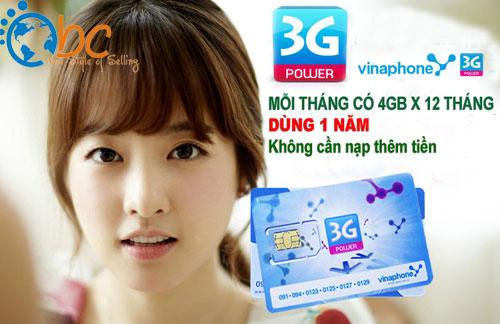 Sim 3G Vinaphone miễn phí vào mạng 1 năm